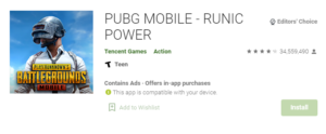 PUBG game play store
